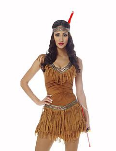 billige Halloweenkostymer-amerikansk indianer Dame Jul Halloween Karneval Oktoberfest Nytt År Barnas Dag Festival / høytid Halloween-kostymer Gul Trykt mønster