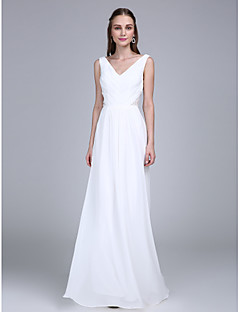 cheap Going Neutral-Sheath / Column V-neck Floor Length Chiffon Bridesmaid Dress with Side Draping by LAN TING BRIDE®