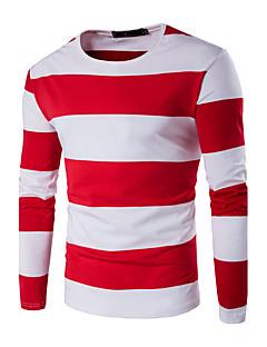 Bomull Blå / Rød / Sort Tynn Langermet,Rund hals T-skjorte Stripet / Fargeblokk Høst / Vinter EnkelFritid/hverdag / Sport /