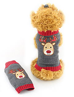 Cat Dog Sweater Dog Clothes Cute Christmas Reindeer Gray