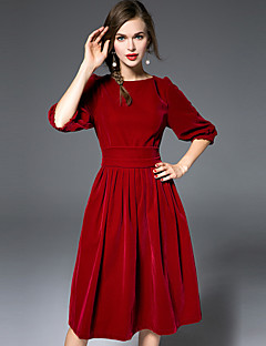 Χαμηλού Κόστους JOJO HANS-Γυναικεία Μετάξι Swing Φόρεμα - Μονόχρωμο Πάνω από το Γόνατο