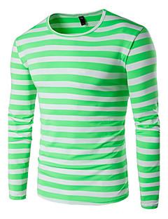 baratos Vestuário & Moda Masculina-Homens Tamanhos Grandes Camiseta - Esportes Activo Listrado Algodão Decote Redondo
