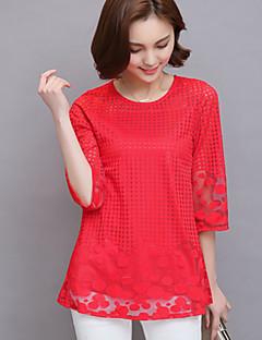 billige Plusstørrelser-Dame - Ternet Bomuld, Net Simple / Gade / Sofistikerede I-byen-tøj T-shirt