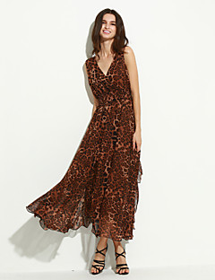 Women's Party Sexy Swing Dress,Leopard V Neck Maxi Sleeveless Summer Mid Rise Inelastic Thin