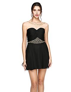 A-라인 쥬얼리 숏 / 미니 쉬폰 칵테일 파티 프롬 드레스 와 비즈 크리스 크로스 으로 TS Couture®