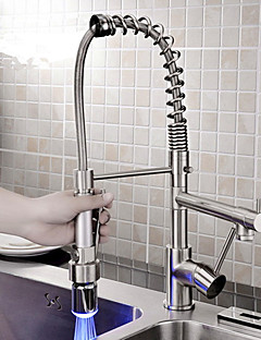Personalized Contemporary Kitchen Faucet Nickel Brushed Finish Single Handle Led Pull Out Spout