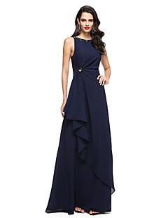 Coloană / Teacă Bijuterie Lungime Podea Șifon Seară Formală Rochie cu Mărgele Pliuri de TS Couture®