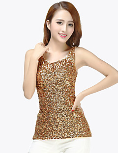 cheap Jazz Dance Wear-Latin Dance Tops Women's Training Sequined Sequin Sleeveless Natural Top