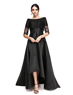 billiga Aftonklänningar-A-linje Off shoulder Asymmetrisk Satäng Formell kväll Klänning med Spets av TS Couture®