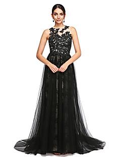 ieftine -Linia -A Bijuterie Trenă Court Dantelă Tulle Seară Formală Rochie cu Mărgele Aplică Buton Pliuri de TS Couture®