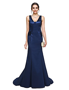 baratos Vestidos para Ocasiões Especiais-Sereia Decote V Cauda Corte Charmeuse Evento Formal Vestido com Pregas de TS Couture®