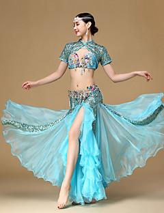 ריקוד בטן תלבושות ביצועים כותנה פוליאסטר חרוזים קפלים 3 חלקים שרוול קצר נפול מעיל חצאית חזייה
