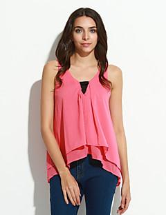 billige Bluse-Dame - Ensfarvet Udhulet Bluse