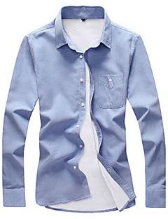 billige Herremote og klær-Bomull Medium Langermet,Skjortekrage Skjorte Ensfarget Høst Vinter Enkel Fritid/hverdag Herre
