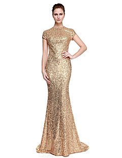 cheap Special Occasion Dresses-Sheath / Column Jewel Neck Sweep / Brush Train Sequined Formal Evening / Black Tie Gala Dress with Sequin by TS Couture®