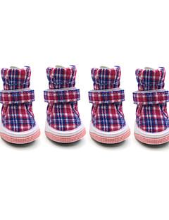 billiga Hundkläder-Hund Skor och stövlar Håller värmen / Mode / Snökängor Pläd / Rutig Röd / Blå / Rosa För husdjur