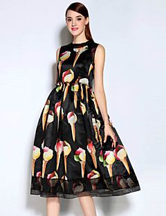 economico Saldi-Per donna Vintage Cotone Fodero Vestito - Con stampe, Vari colori Medio