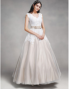 A Line V Neck Floor Length Lace / Satin / Tulle Made To Measure Wedding  Dresses With Lace / Sash / Ribbon / Button By LAN TING BRIDE®