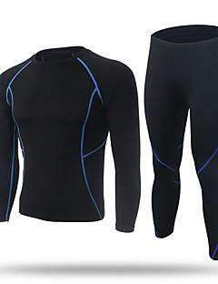 billige Løbetøj-XINTOWN Herre Grundlag Langærmet Hold Varm, Hurtigtørrende, Fleecefoer Tights / Kompressionstøj / T-Shirt for Træning & Fitness /