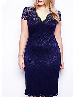 Women's Lace Sexy Bodycon Casual Lace Plus Sizes Inelastic Short Sleeve Above Knee Dress (Lace)