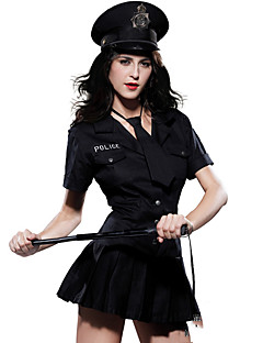 Politie Cosplay Kostuums Feestkostuum Vrouwelijk Halloween Festival/Feestdagen Halloweenkostuums Zwart Effen