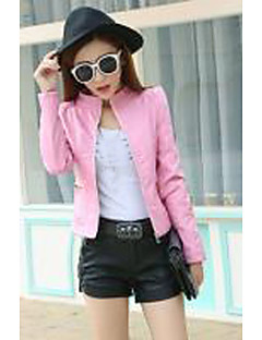Women's Daily Wear Chic & Modern Spring Fall Leather Jacket,Solid Color Peaked Lapel Long Sleeve Short PU Formal Style