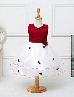 billige Pigekjoler-Pigens Kjole I-byen-tøj Patchwork,Polyester Sommer Uden ærmer Lilla Rosa Rød Blå Lys pink