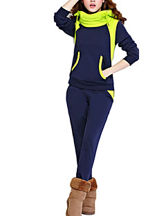 Women's Plus Size / Casual/Daily Active Fall / Winter Set Pant Suits,Color Block Hooded Long Sleeve Blue Cotton