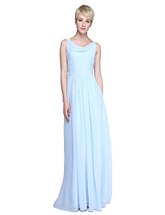 Sheath / Column Cowl Neck Floor Length Chiffon Bridesmaid Dress with Ruching by LAN TING BRIDE®