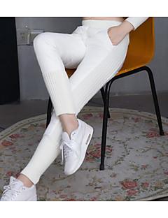 abordables -Femme Décontracté Taille Normale Micro-élastique Droite Chino Pantalon,Polyester Hiver Automne Couleur Pleine