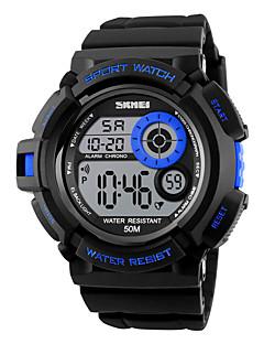 SKMEI Erkek Spor Saat Dijital LED Takvim Kronograf Su Resisdansı alarm Kronometre Gece Parlayan Renkli PU Bant Havalı Siyah