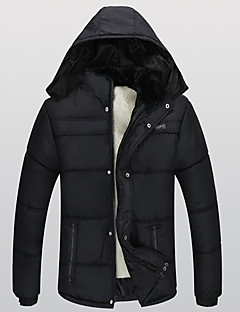 Men's Regular Padded Coat,Casual Daily Solid Patchwork-Cotton Cotton Long Sleeves Hooded