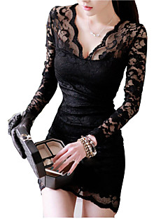 Women's Lace Sexy Lace V-neck Long Sleeve Dress