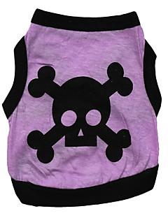 billiga Hundkläder-Hund T-shirt Väst Hundkläder Dödskalle Orange Grå Purpur Grön Cotton Kostym För husdjur Herr Dam Mode Halloween