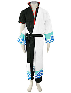 cheap Anime Costumes-Inspired by Gintama Cosplay Anime Cosplay Costumes Cosplay Suits Solid Coat Pants Belt Kimono Coat For Men's