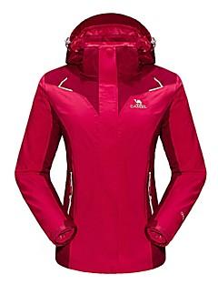 女性用 3-in-1 ジャケット 防水 保温 防風 フリースライナーつき 透湿性 耐久性 高通気性 取り外し可能なキャップ YKKジッパー ダブルファスナー YKKジッパー ウインドブレーカー トップス のために キャンピング&ハイキング スケーティング ダウンヒル 冬 S