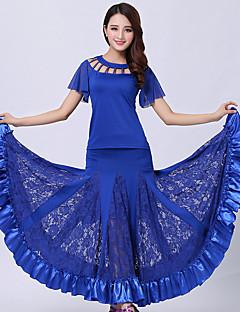 hesapli -Balo Dansı Kıyafetler Kadın's Performans Dantelalar Włókno mleczne Dantel Ayrık Renkler Kısa Kol Doğal Top Etek