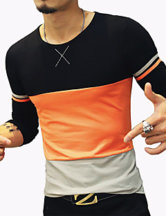 cheap Men's Tees & Tank Tops-Men's Simple Cotton T-shirt - Geometric / Patchwork / Camouflage Round Neck / Long Sleeve