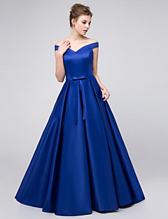 cheap Imperial Blue-Ball Gown Off Shoulder Floor Length Satin Bridesmaid Dress with Sash / Ribbon by LAN TING Express