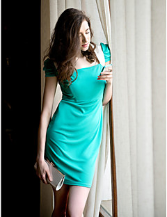 TS Contrast Color Pleats Sleeves Sheath Dress