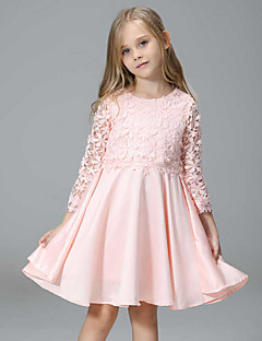 Girl's Casual/Daily Patchwork Dress,Polyester Spring Fall Sleeveless Lace Pink