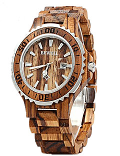 男性 女性用 カップル用 リストウォッチ 腕時計 ウッド カレンダー クォーツ 日本産クォーツ ウッド バンド ラグジュアリー レッド