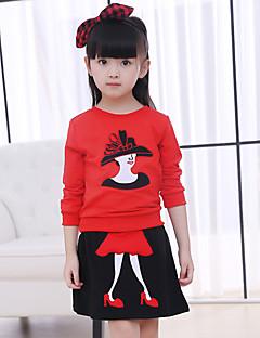 billige Tøjsæt til piger-Pige Tøjsæt Daglig I-byen-tøj Patchwork, Bomuld Vinter Forår Efterår Langærmet Sort Rød