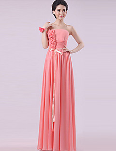 cheap Mix & Match Bridesmaid Dresses-Sheath / Column Strapless Floor Length Chiffon Bridesmaid Dress with Sash / Ribbon Pleats Flower by LAN TING Express