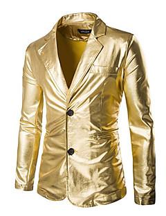 billige Herremote og klær-Bomull Normal Blazer Ensfarget Gatemote Daglig Herre