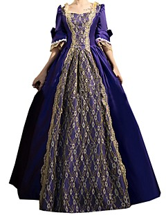 Victorian Rococo Women's One-Piece/Dress Ink Blue Cosplay Lace Cotton Long Sleeves Bell Floor Length
