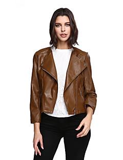 女性 お出かけ プラスサイズ ソリッド レザージャケット,ヴィンテージ ブラウン ポリウレタン 長袖