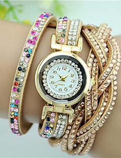 billige Armbåndsure-Dame Quartz Armbåndsur Rhinsten Farverig Imiteret Diamant Læder Bånd Vedhæng Blomst Mode Sort Hvid Blåt Pink Mangefarvet Beige