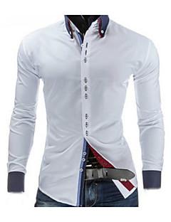 billige Herrers Moteklær-Bomull Medium Langermet,Skjortekrage Skjorte Ensfarget Vår Fritid Ut på byen Arbeid Herre