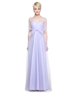 cheap Convertible Dresses-A-Line V-neck Floor Length Tulle Bridesmaid Dress with Ruffles Side Draping by LAN TING BRIDE®